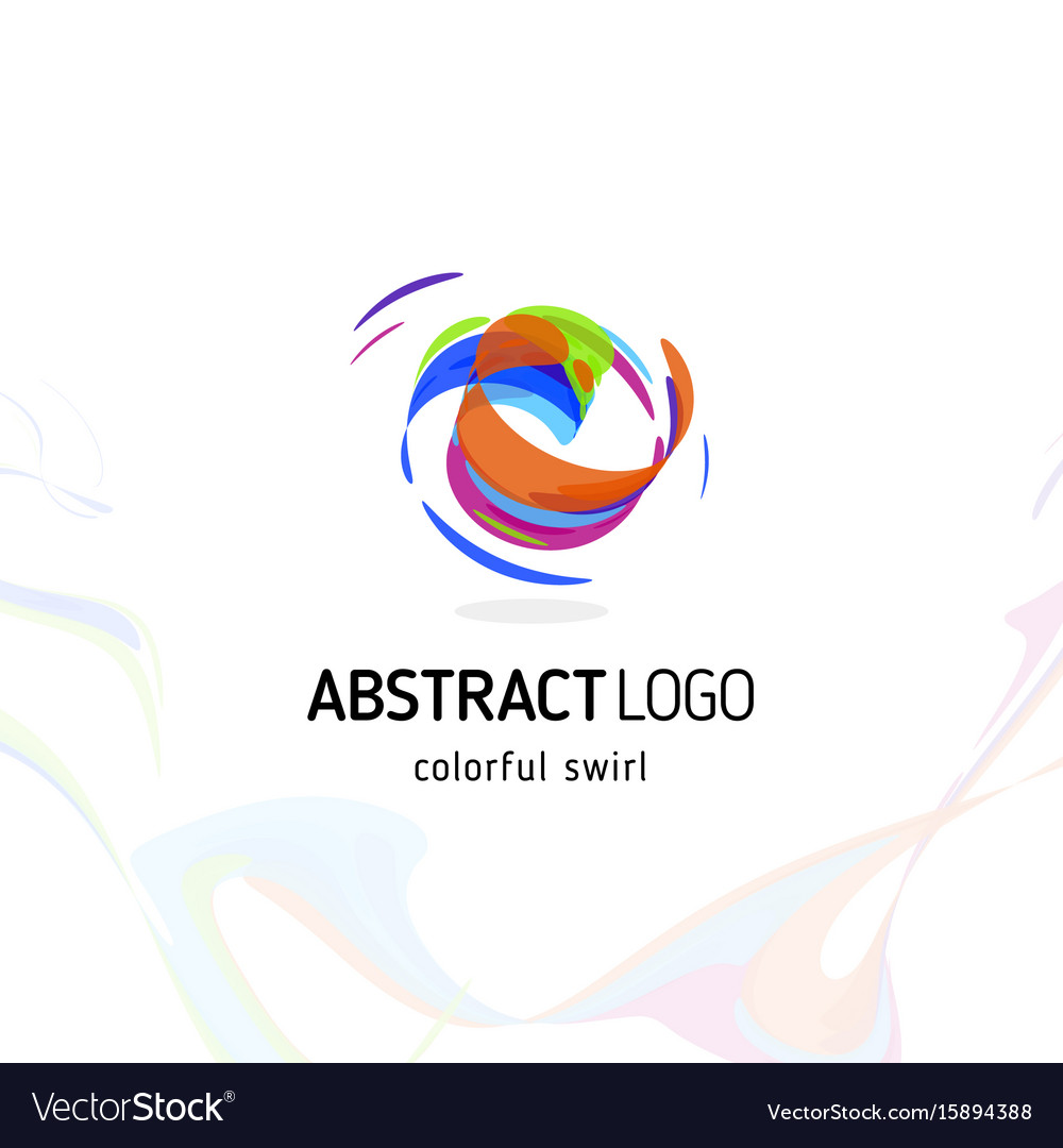 Colorful twisting swirl abstract logo curled vector image