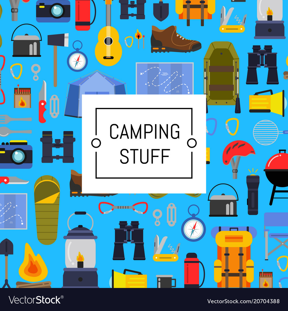 Flat style camping background