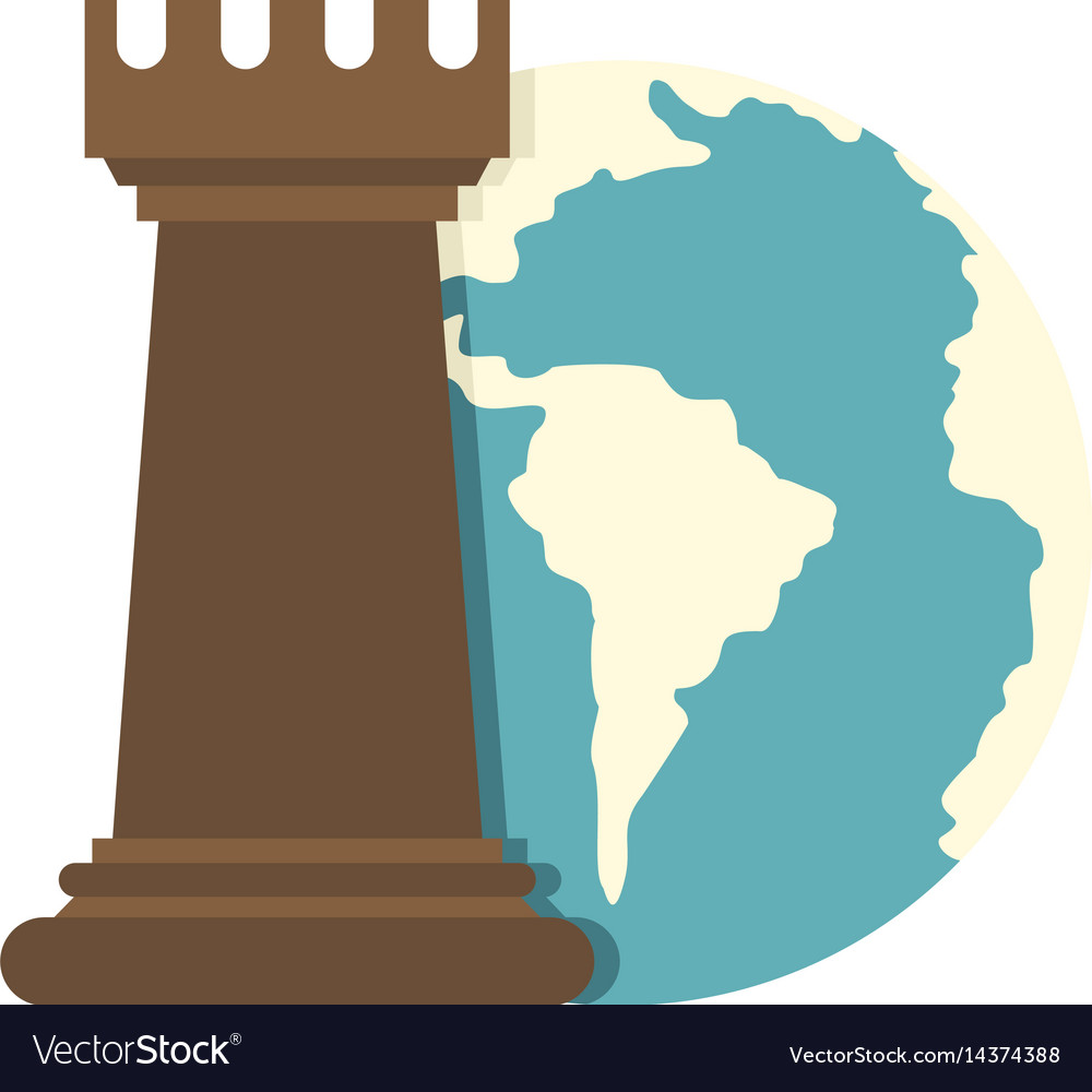 Globe earth and chess rook icon isolated