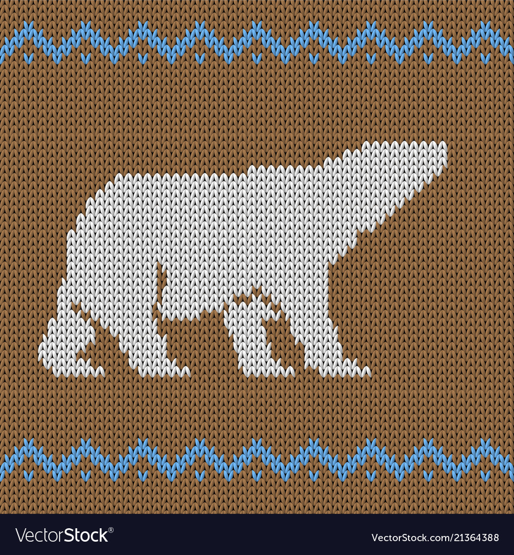 Knitted brown seamless pattern with polar bear