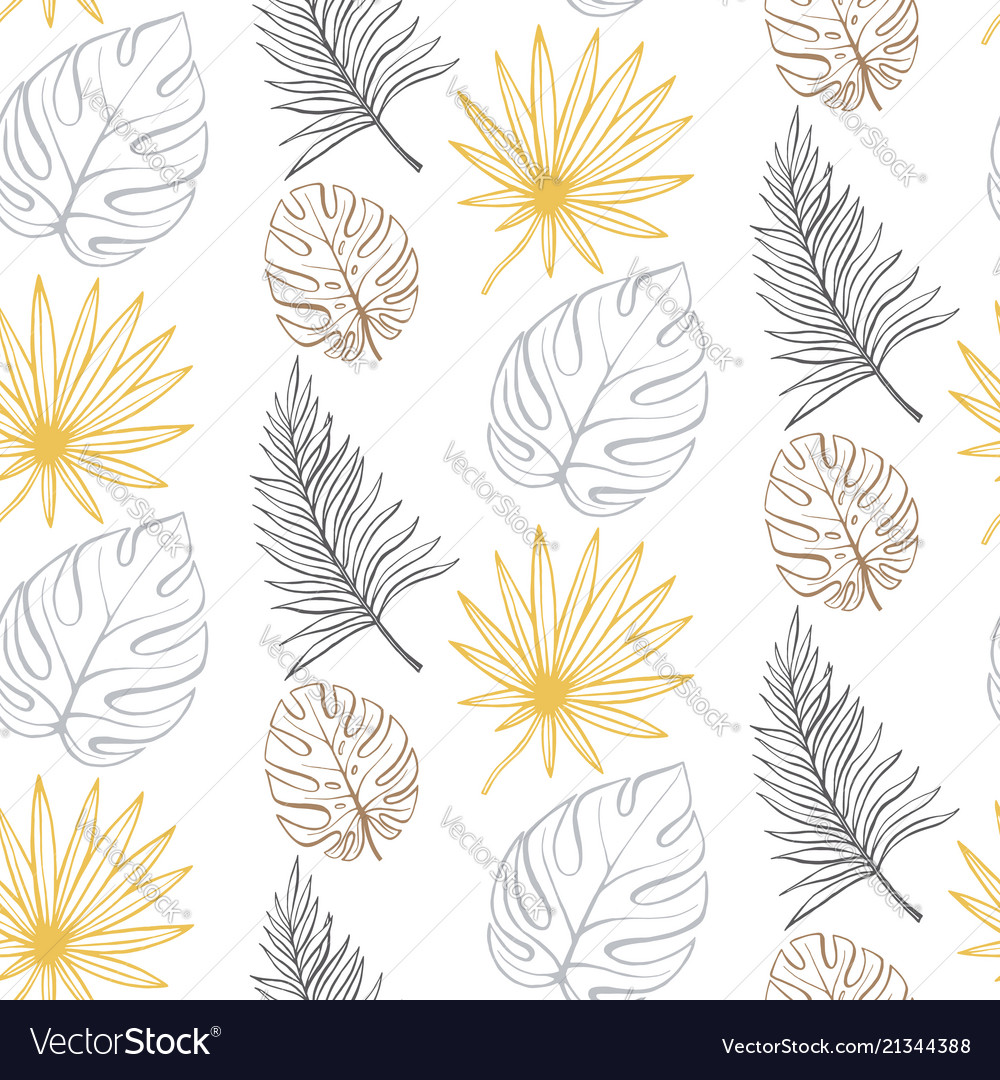 Line art floral spring seamless pattern background