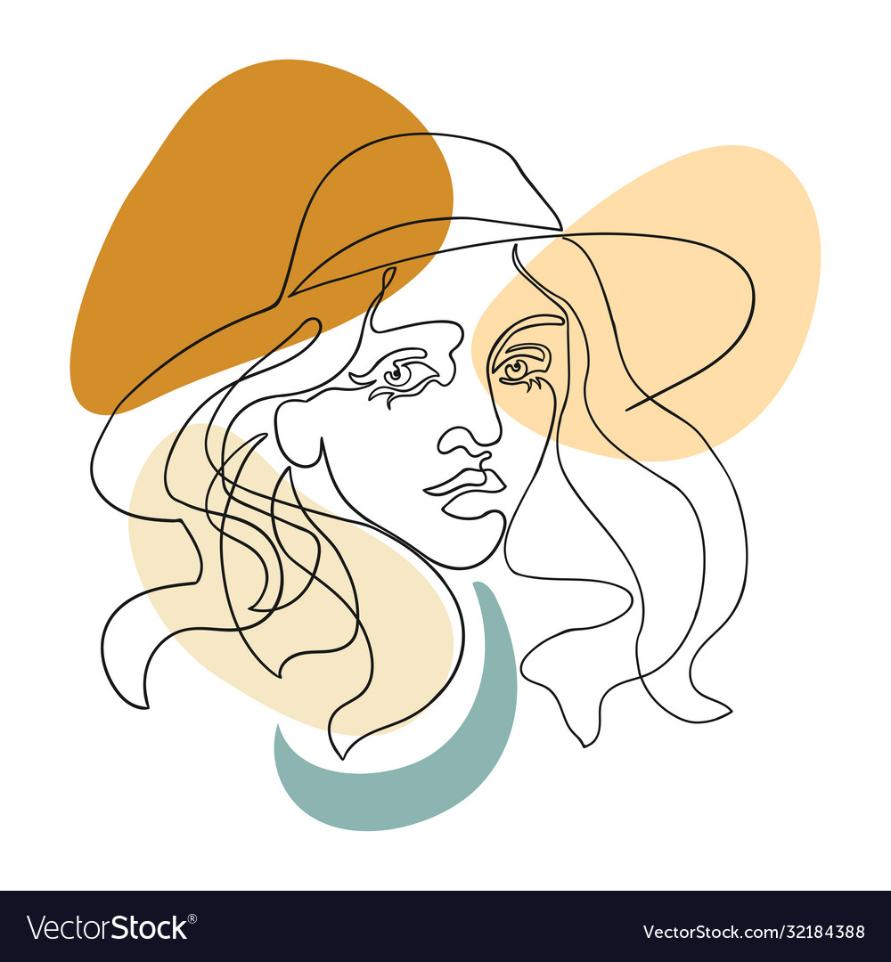 Outline woman in hat