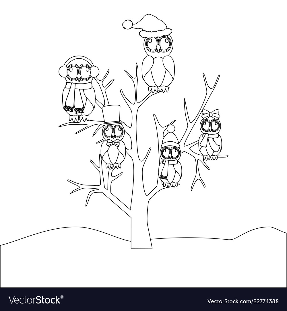 Owls Family On The Tree Coloring Page Royalty Free Vector