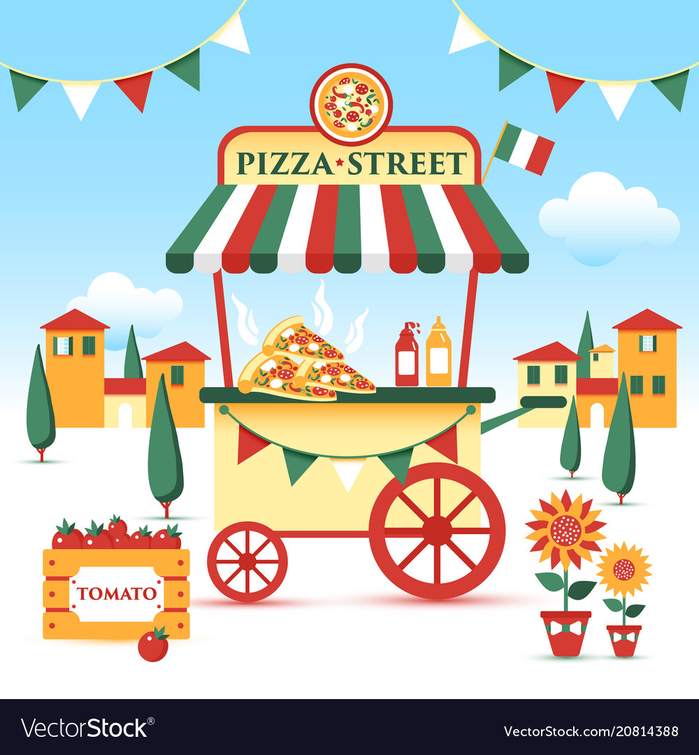 Pizza street food cart colorful