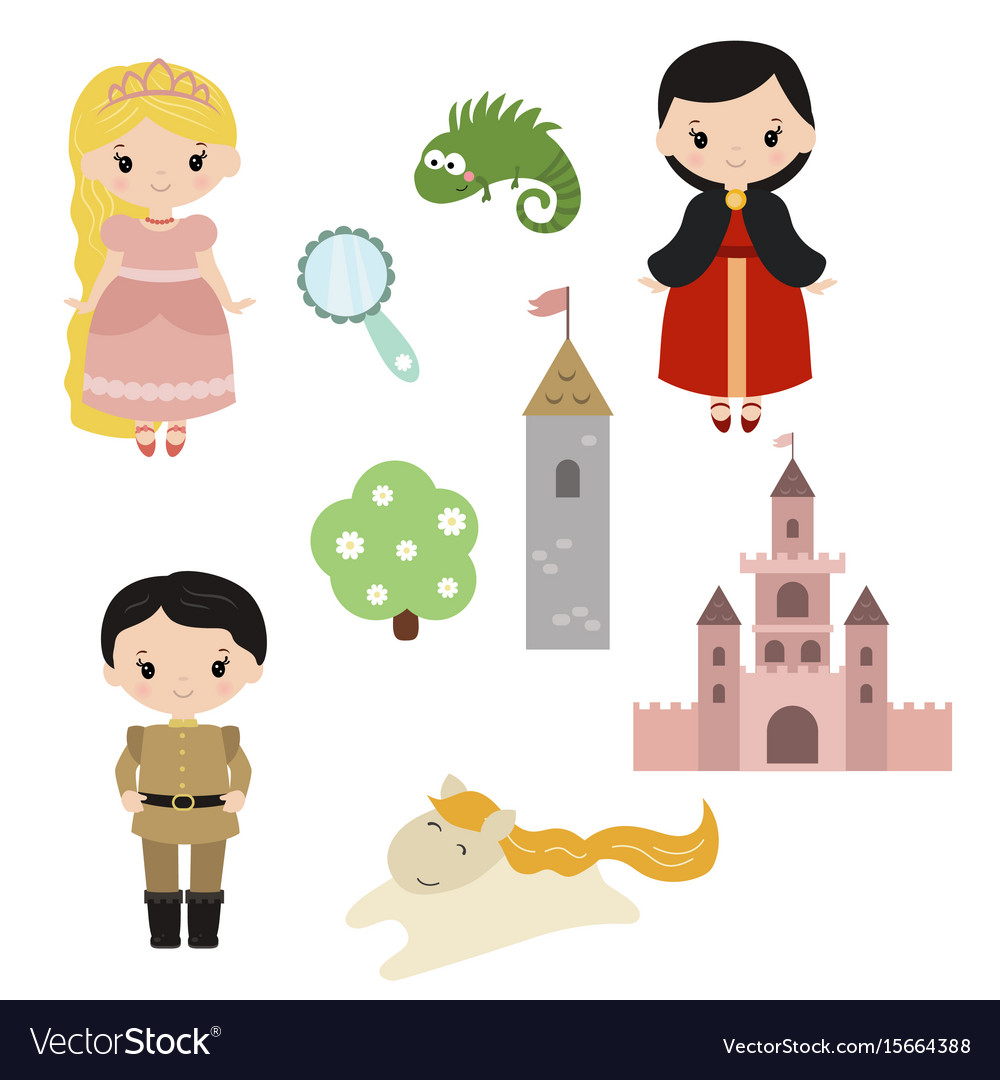 Princess theme with castle prince carriage vector image