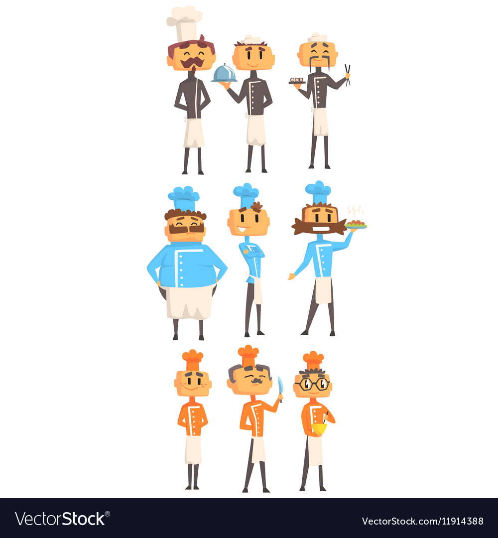 Restaurant Chef Cooks Set Of Man Cartoon vector image