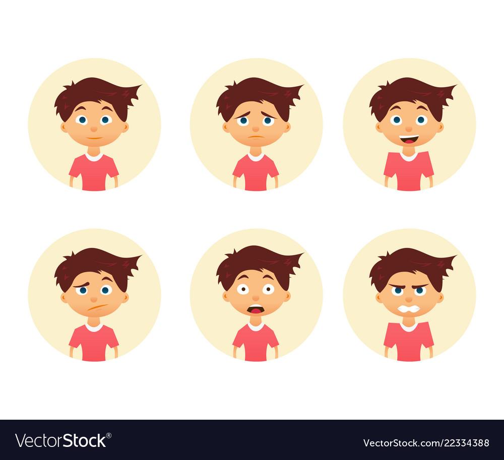 Set of emotion cute boy facial expression