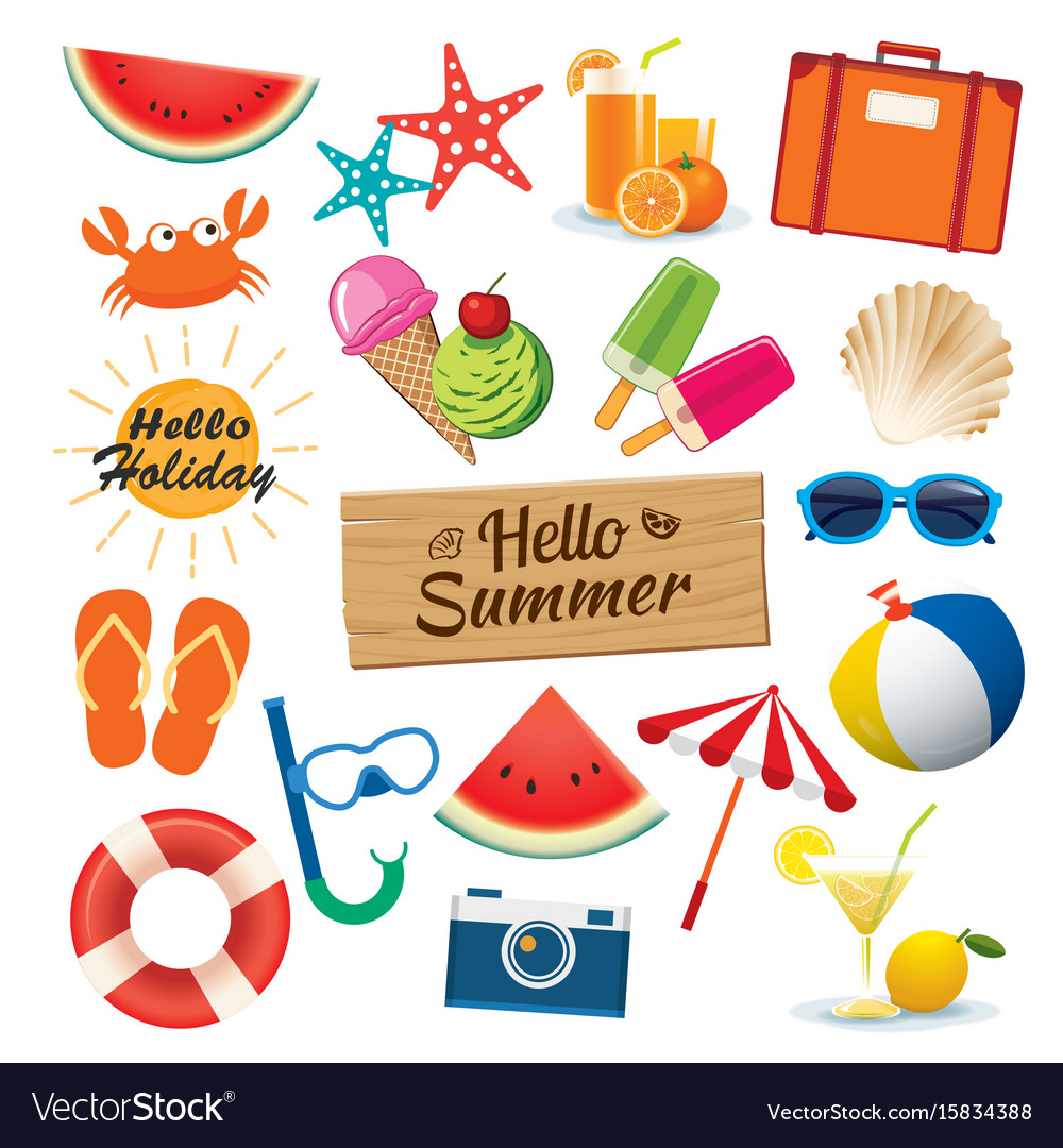 Summer sticker icon set flat design can be used vector image