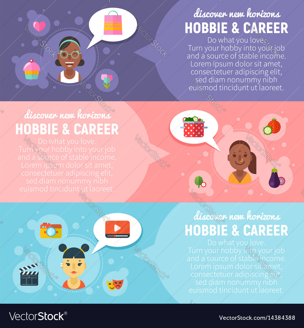 Women Hobbies And Career Banners With Flat Girls Vector Image