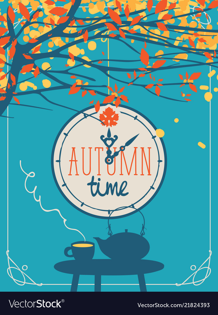 Autumn banner with cup and kettle on the table