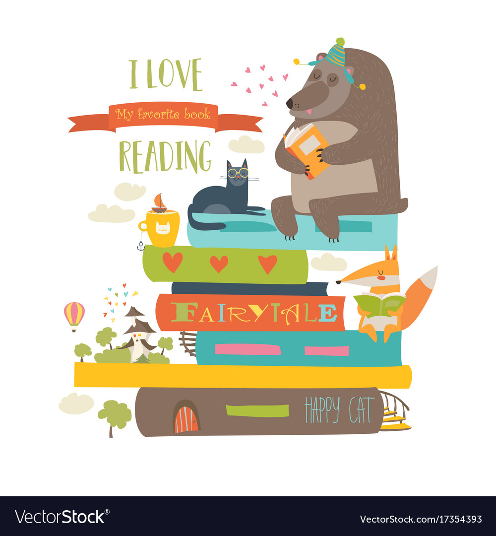 cute cartoon animals reading books royalty free vector image