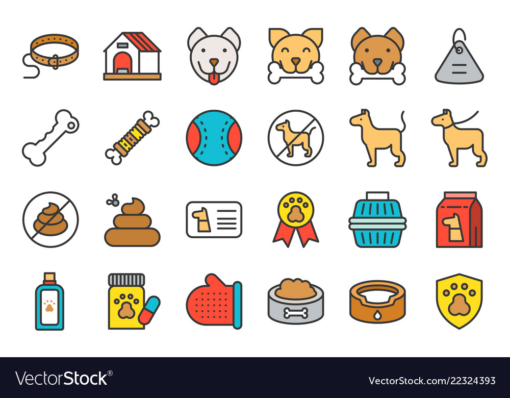 Cute dog related icon set such as collar pet not