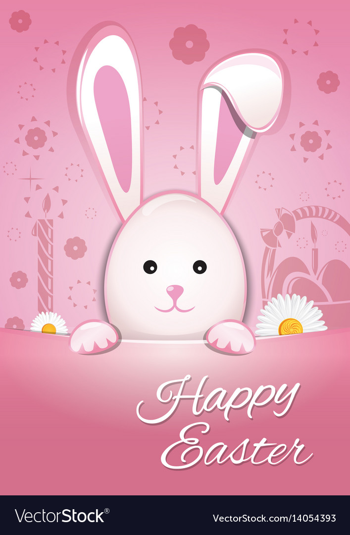 Cute easter bunny on a pink background happy