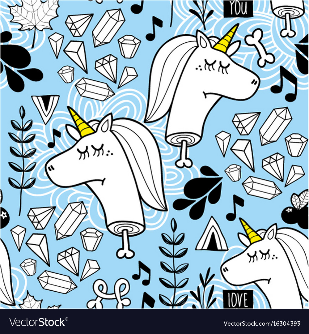 Endless background with heads of unicorn and vector image