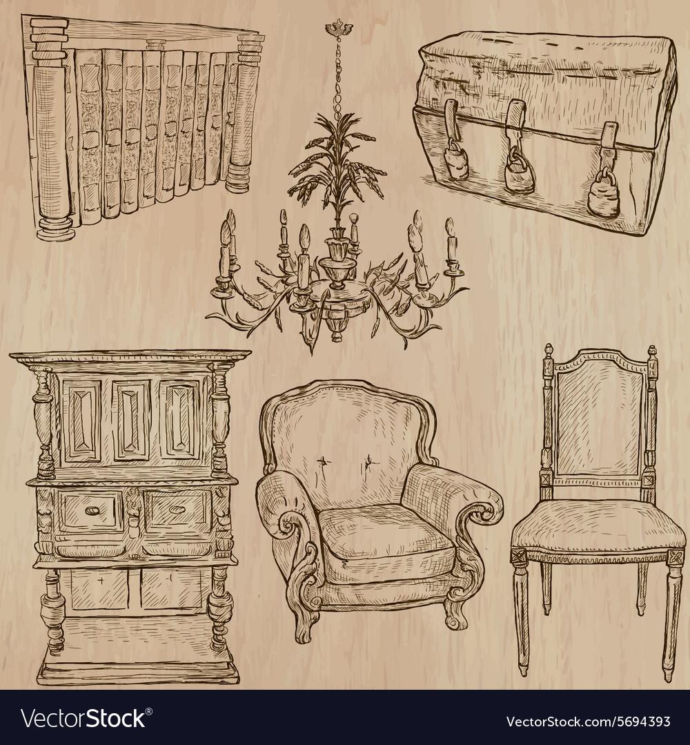 Furniture   Sketches Line Art Vector Image