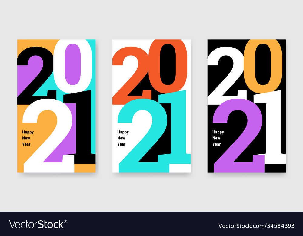 Happy new year 2021 posters set