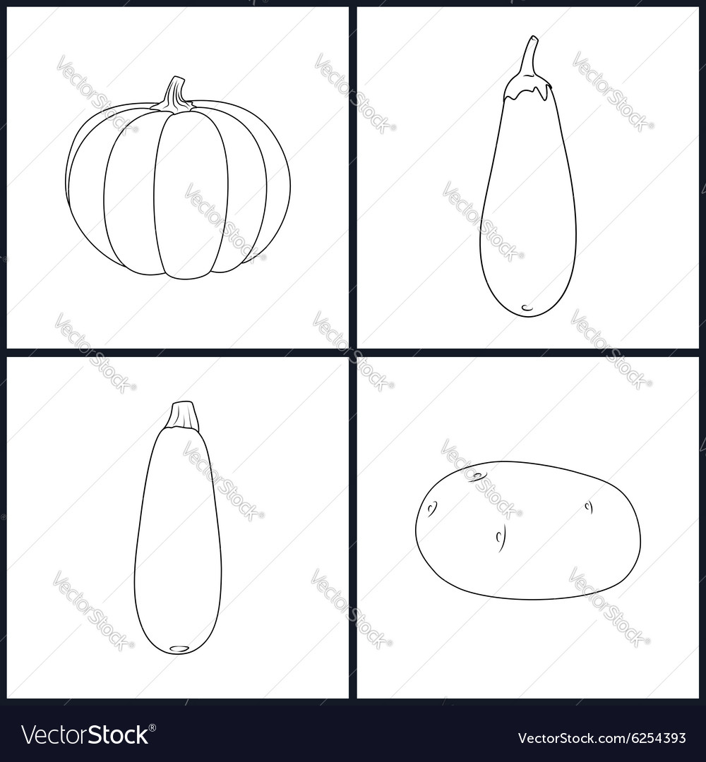 Icons Potato Eggplant Zucchini Pumpkin vector image