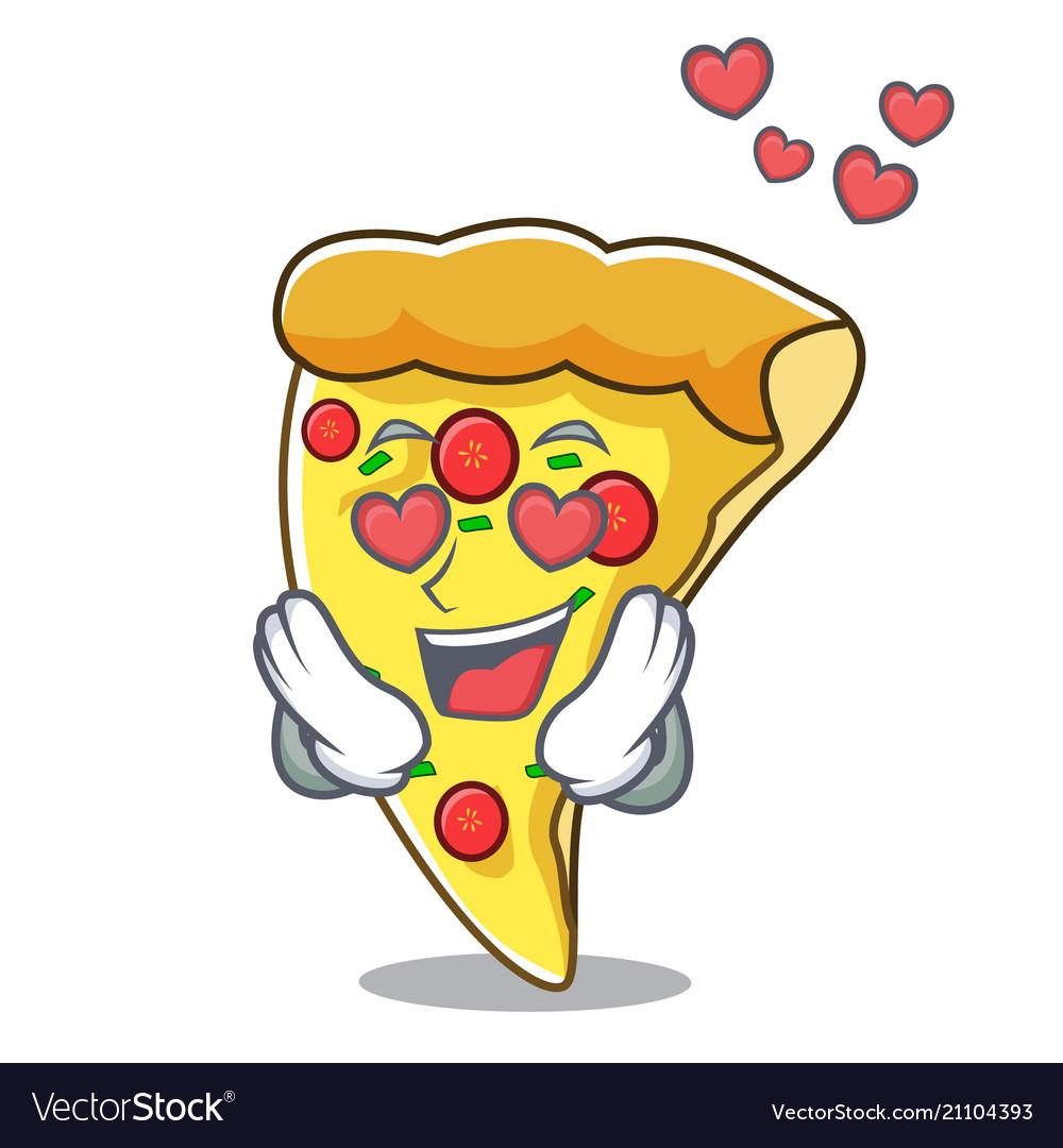 In love pizza slice mascot cartoon