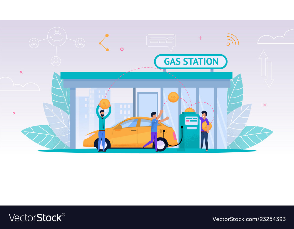 Refueling car on gas station