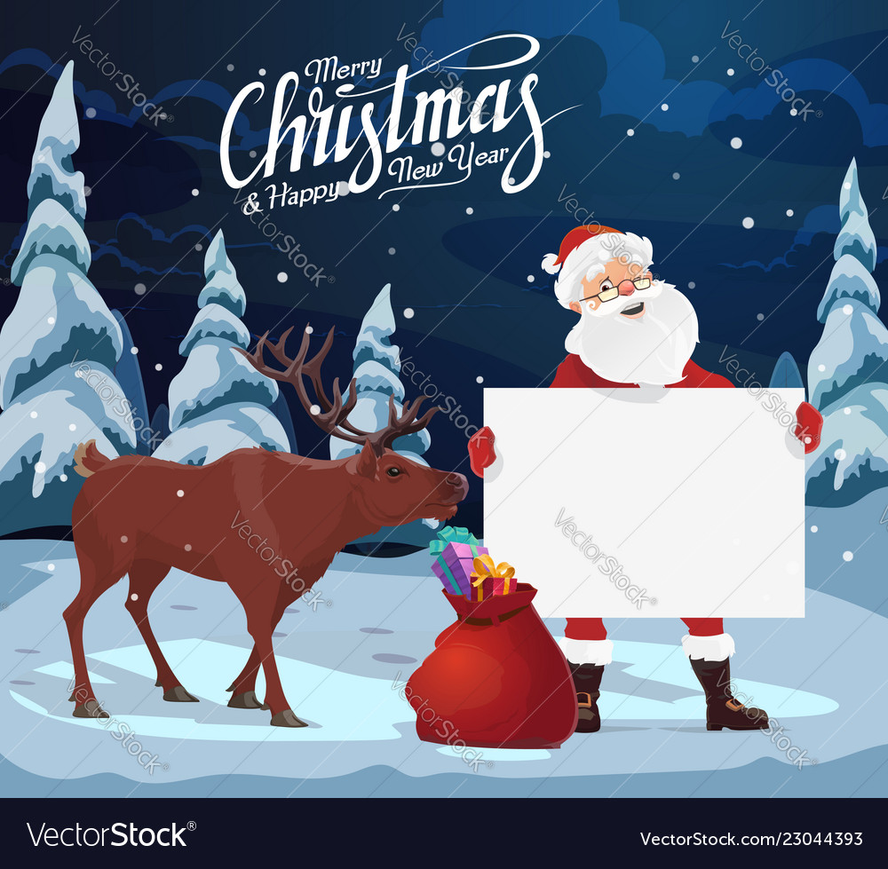 Santa with blank sign christmas gifts reindeer