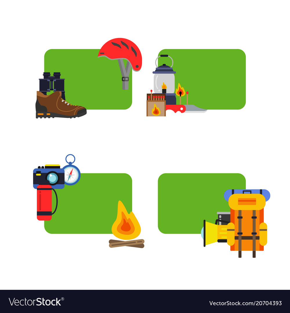 Set stickers camping elements