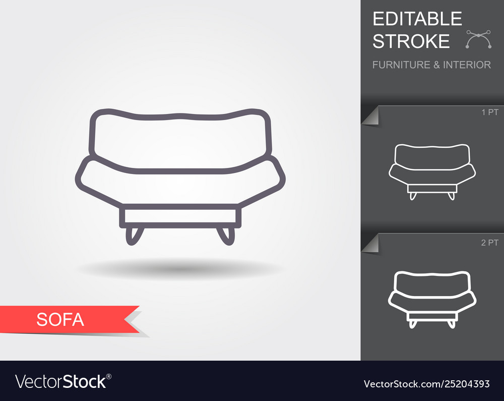 Sofa line icon with editable stroke with shadow