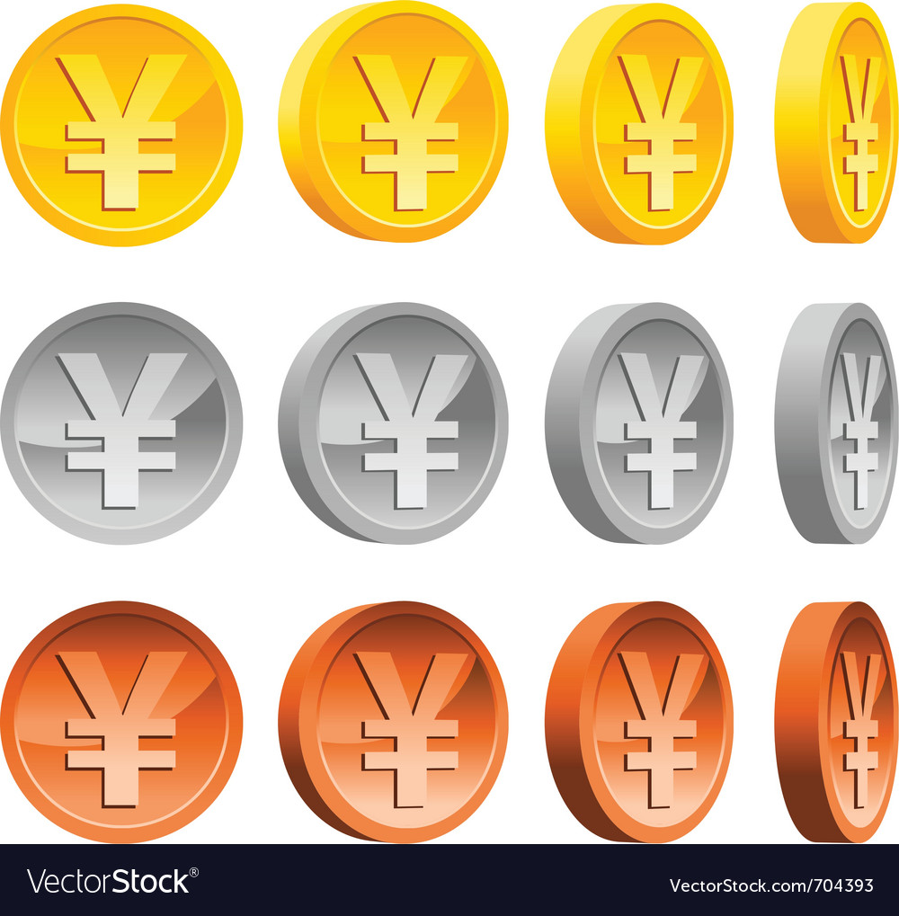yen coins royalty free vector image vectorstock