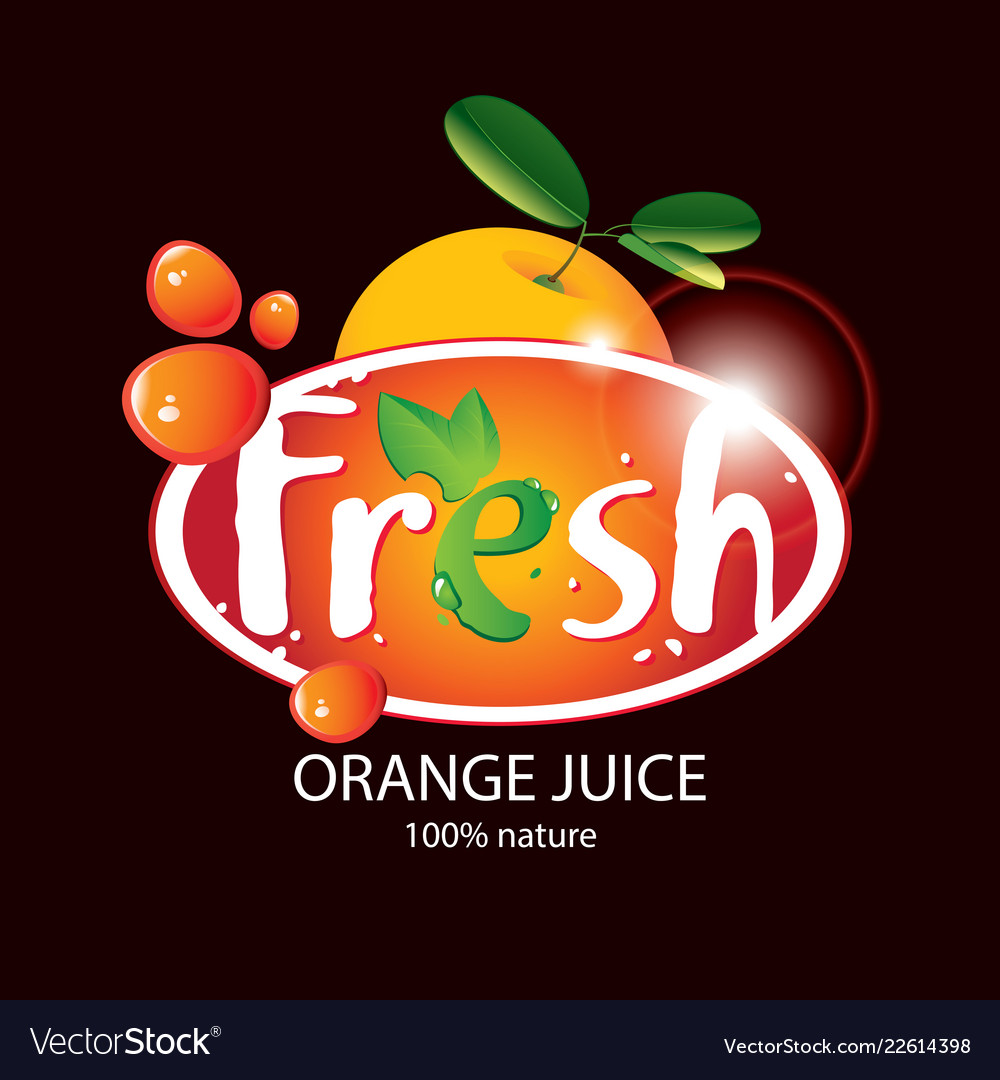 Banner for fresh orange juice with fruit