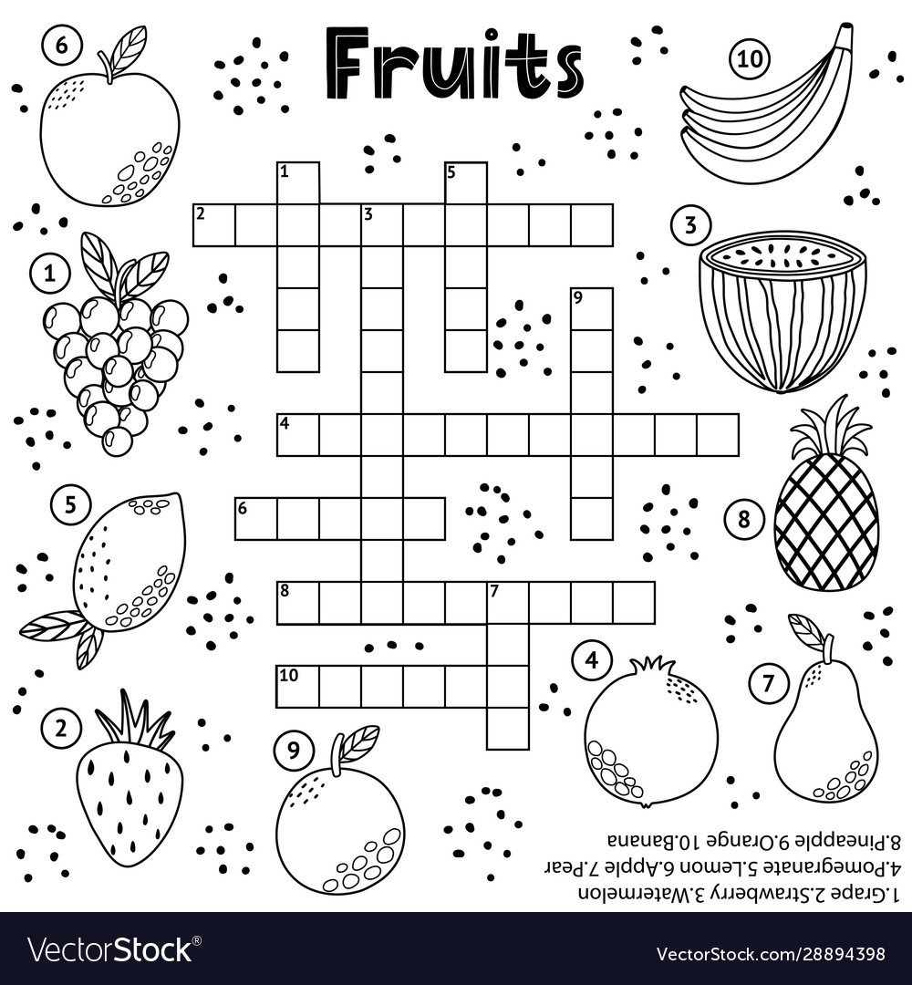 Black and white crossword puzzle game with fruits Vector Image