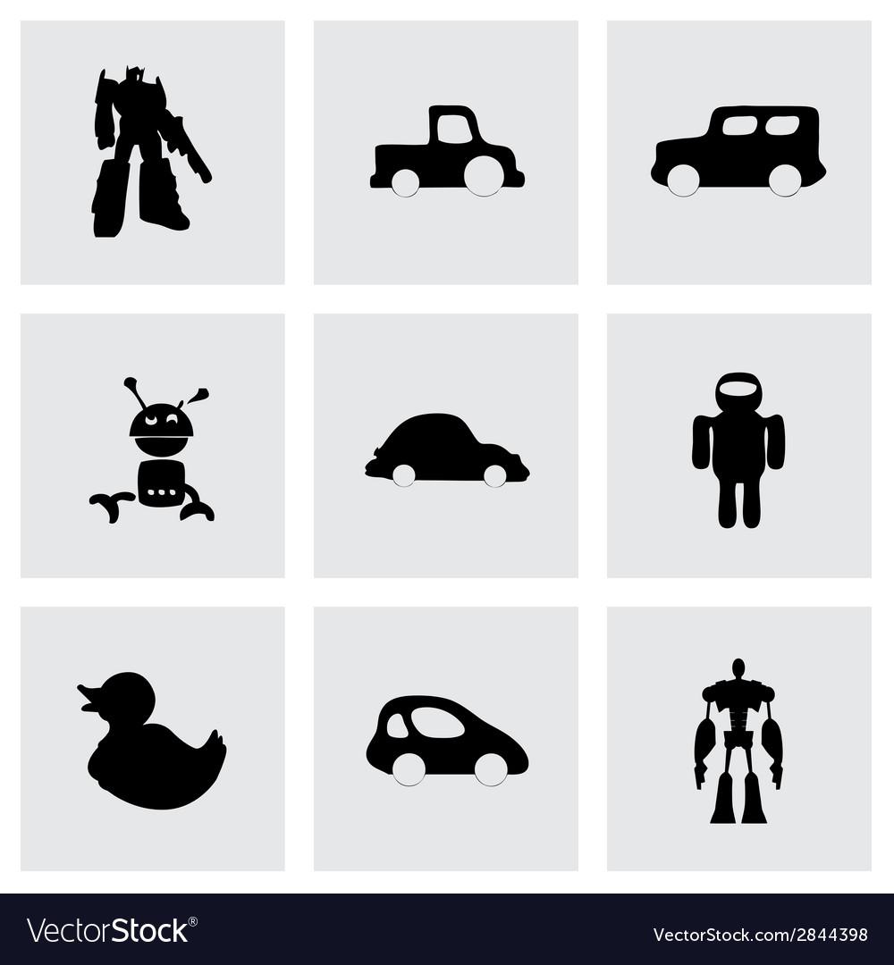 Black toys icons set