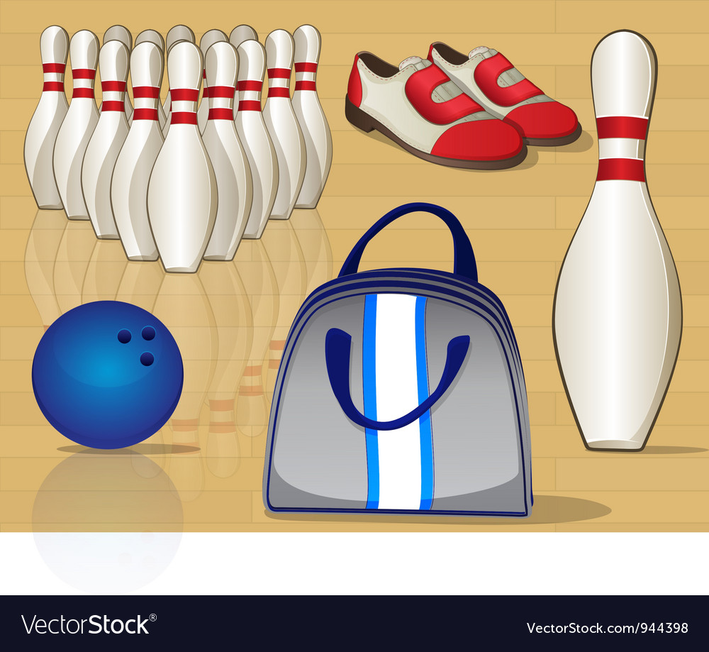 Bowling Equipment Icons vector image