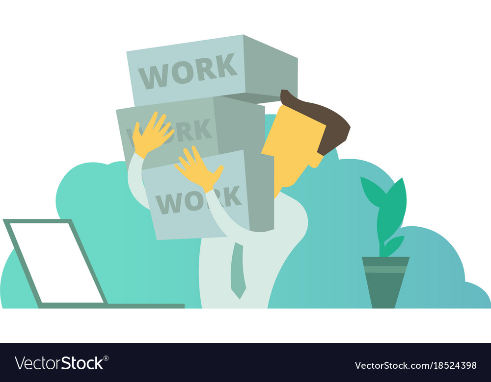 Businessman with boxes in hands a lot of work vector image