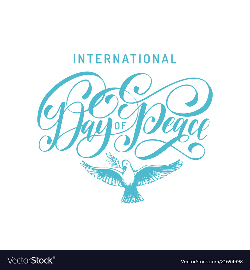 International day peace hand lettering