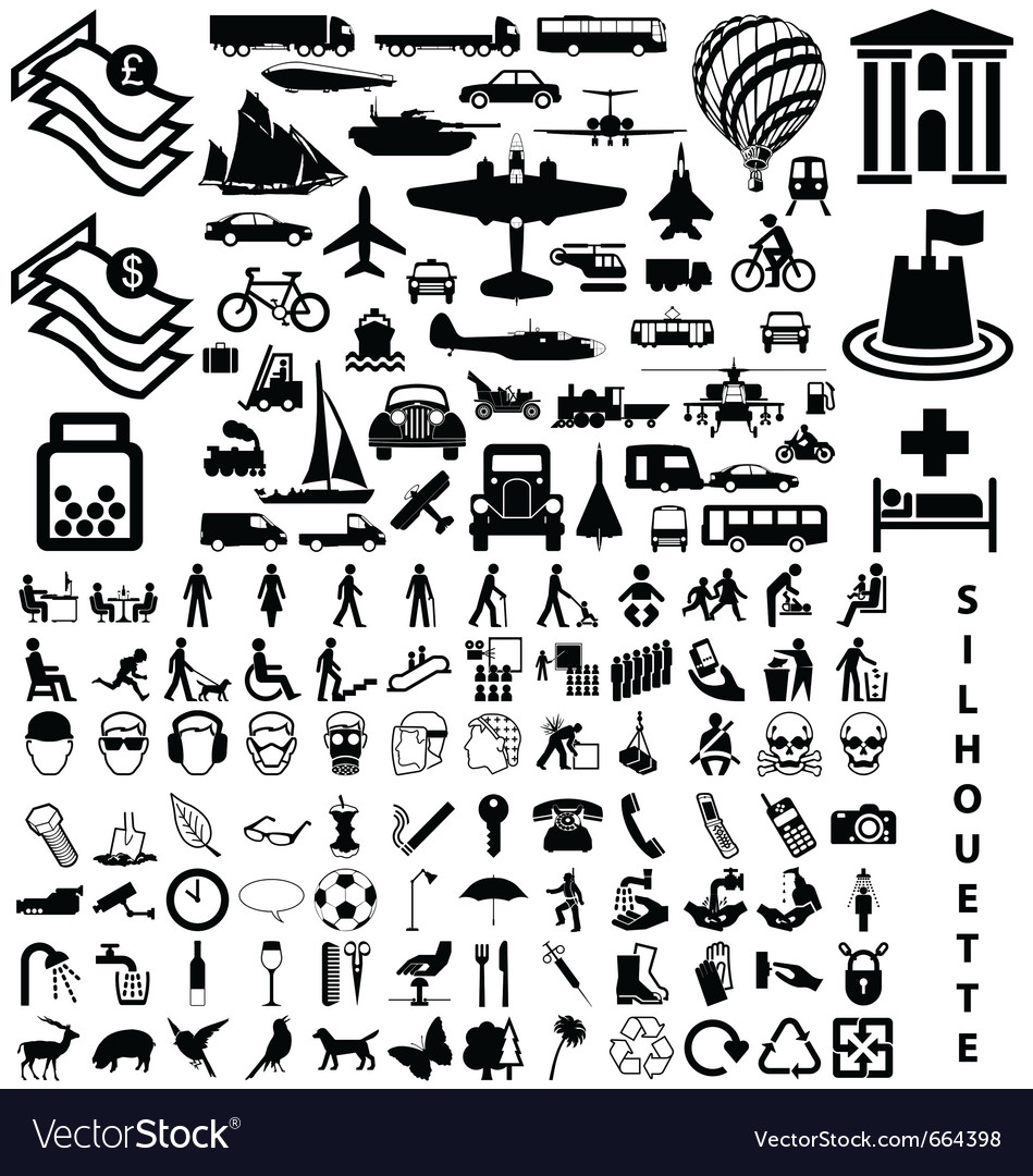 Silhouette collection vector image
