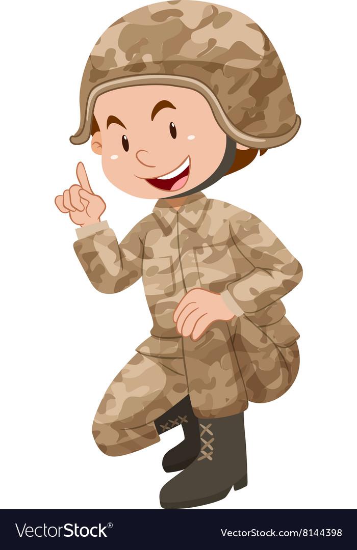 Soldier in brown uniform vector image