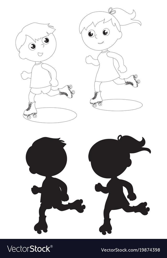Two skating kids black and white