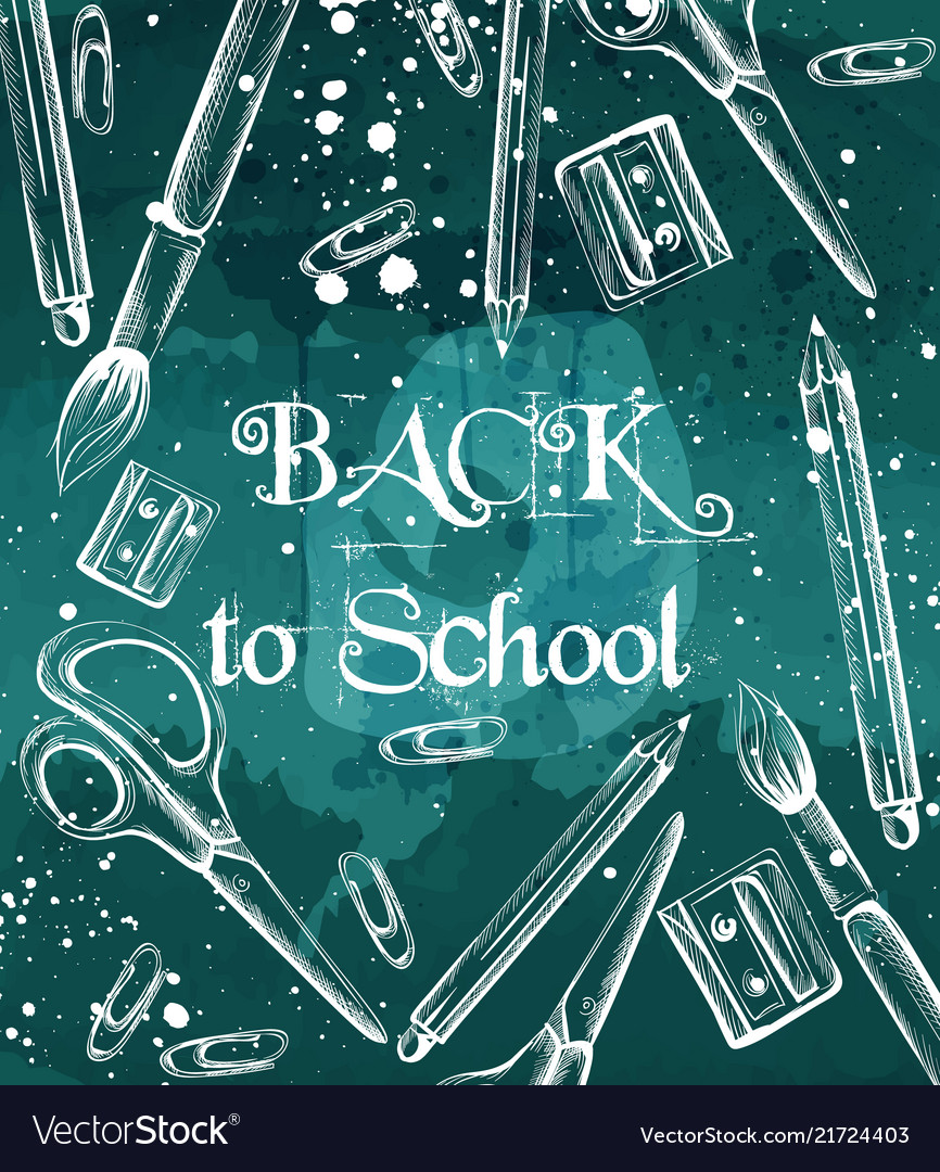 Back to school background with brushes crayons