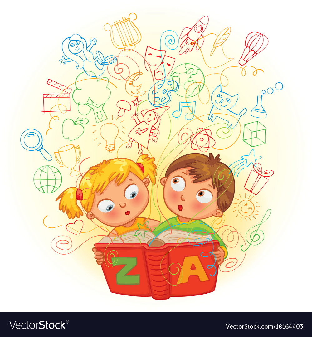 Boy and girl reading a magic book vector image