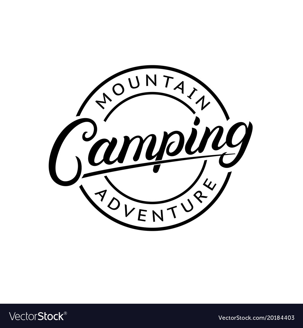 Camping hand written lettering logo