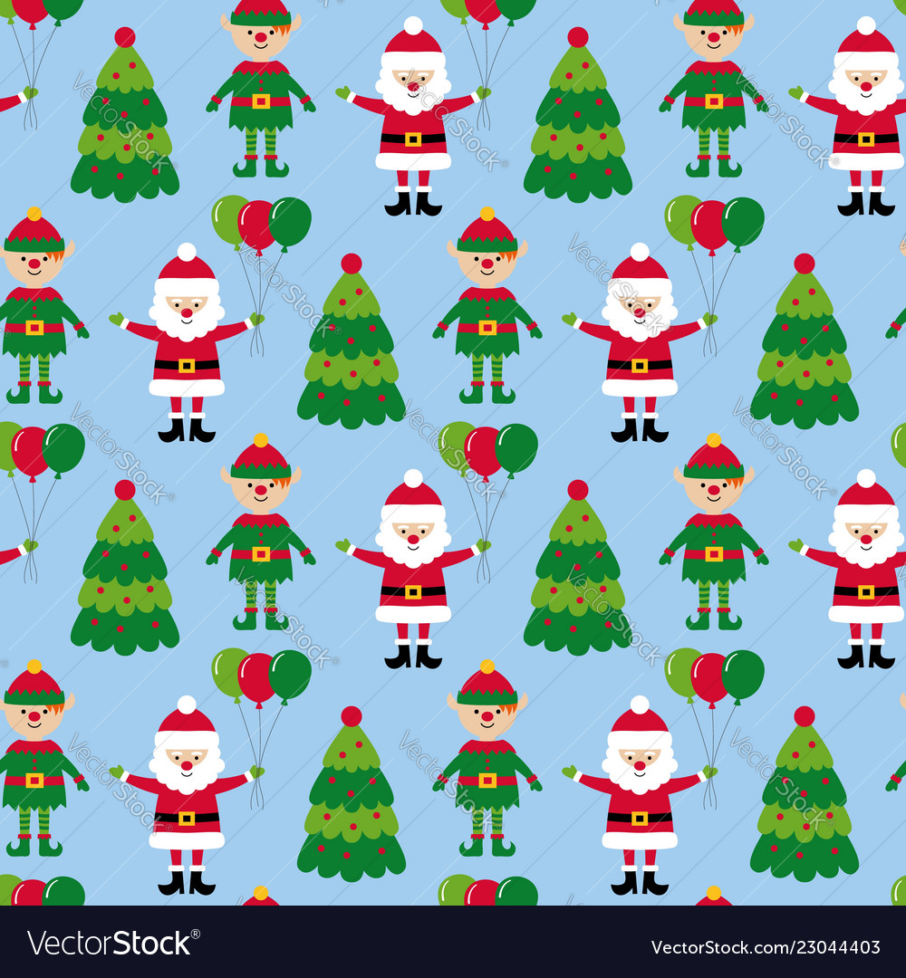 Christmas seamless pattern with santa and elf