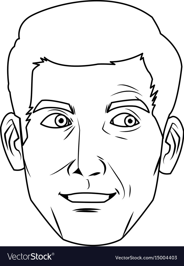 Comic face man expression pop art style