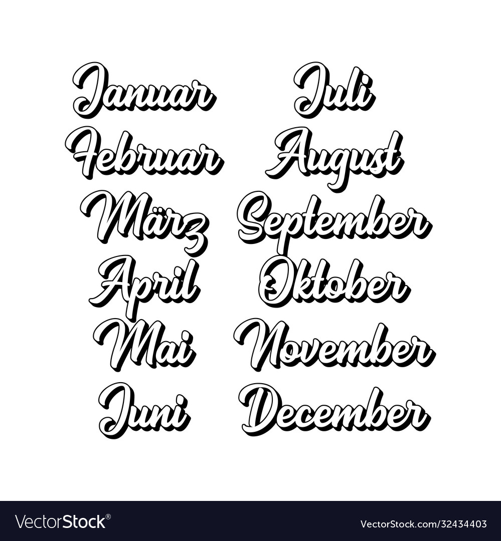 Hand lettered months set in german translated