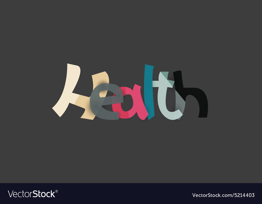 Health word drawn lettering typographic element