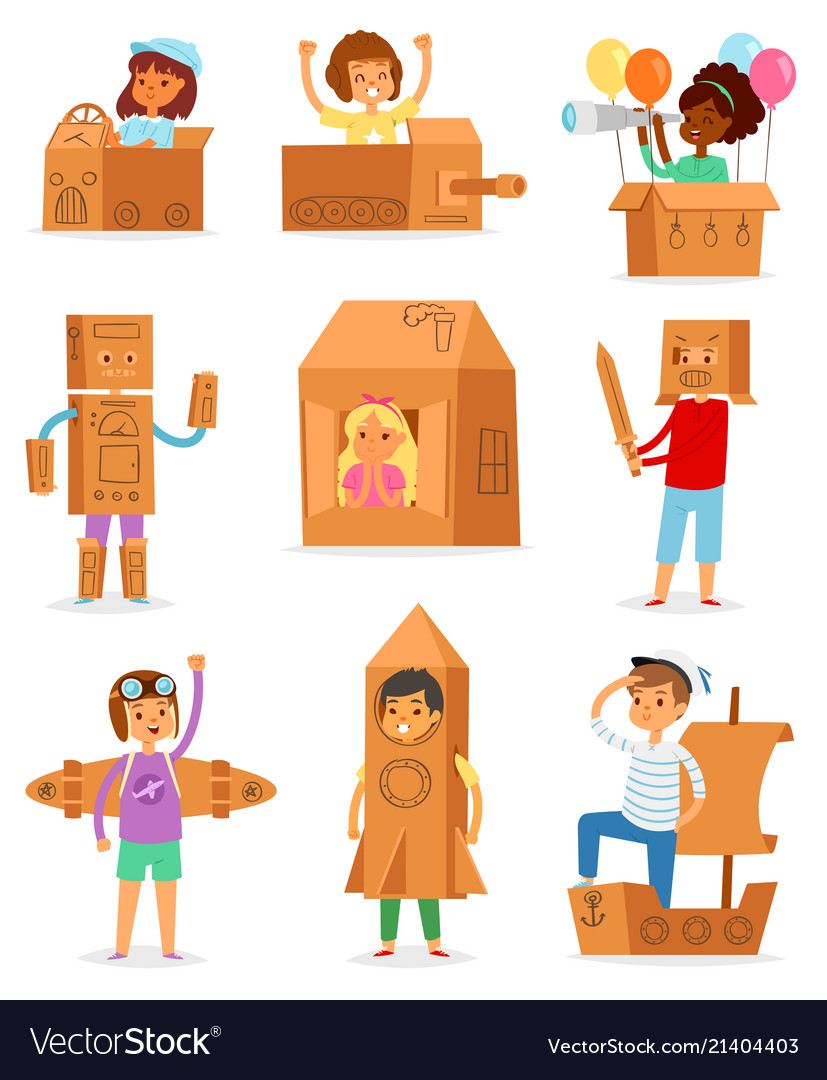 Kids in box creative children character