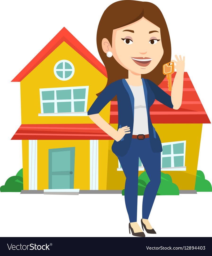 real estate agent with key royalty free vector image