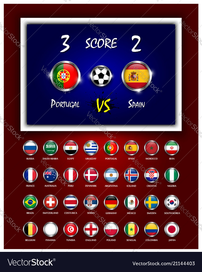 Scoreboard of football match and circle design