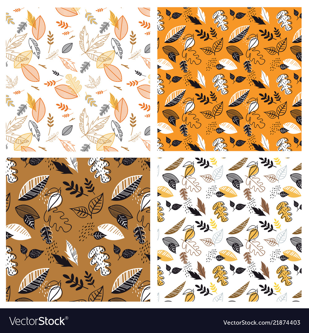 Seamless pattern with acorns and autumn leaves in