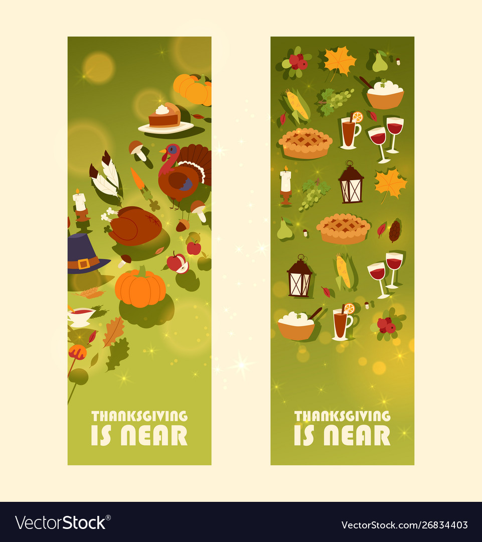 Thanksgiving is near set banners with