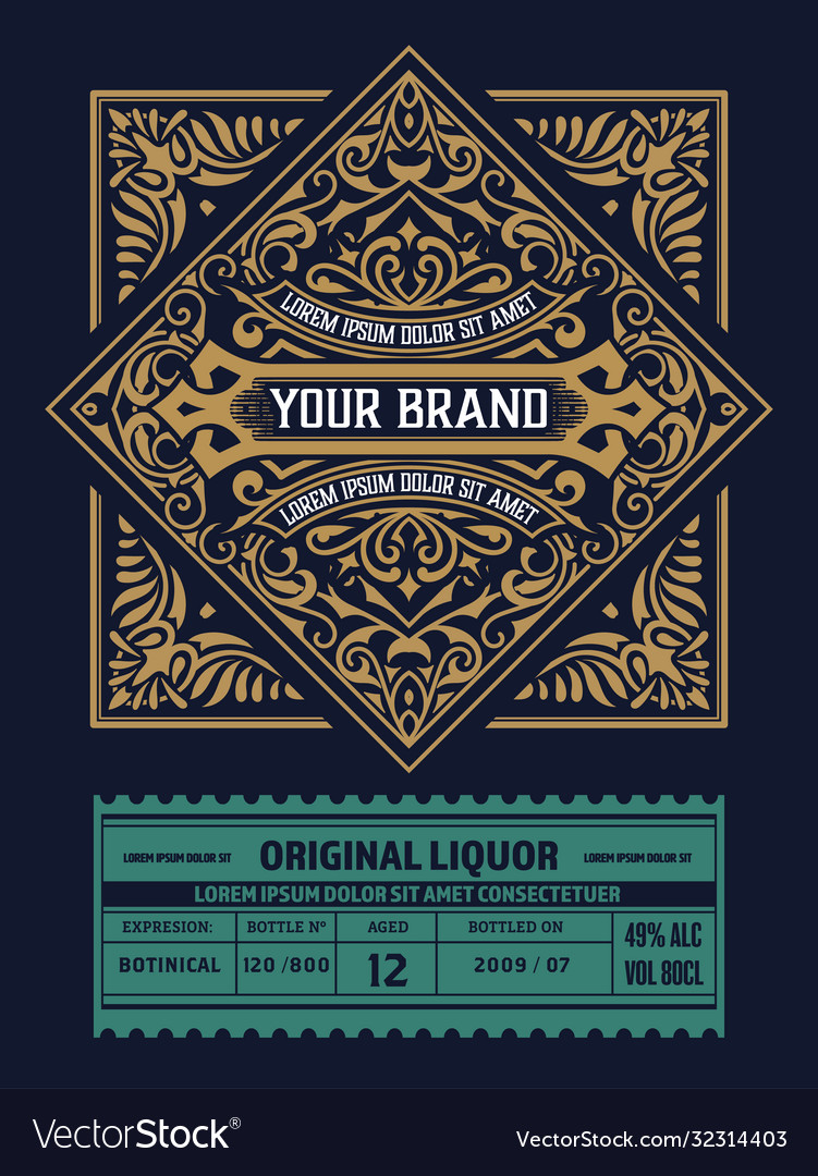 Vintage gin label layered
