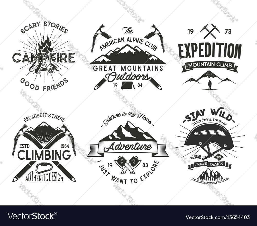Vintage mountaineering badges set climbing logo